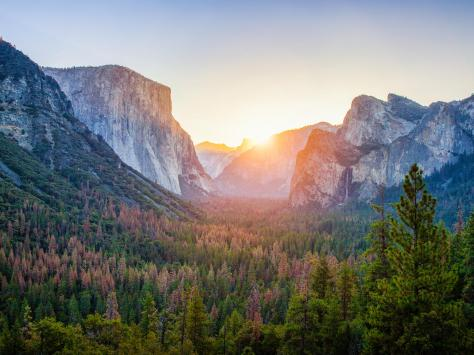 Yosemite National Park at sunrise, California, USA